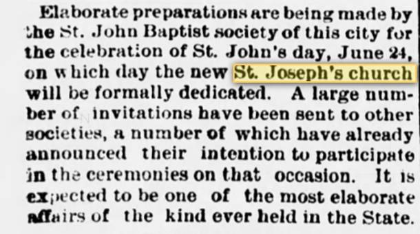 18870314 St Joseph prep for Jun 24 opening 14 Mar 1887.jpg